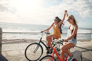 Female friends enjoying cycling