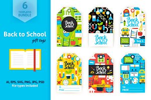 Back to School Gift Tag Vector Set