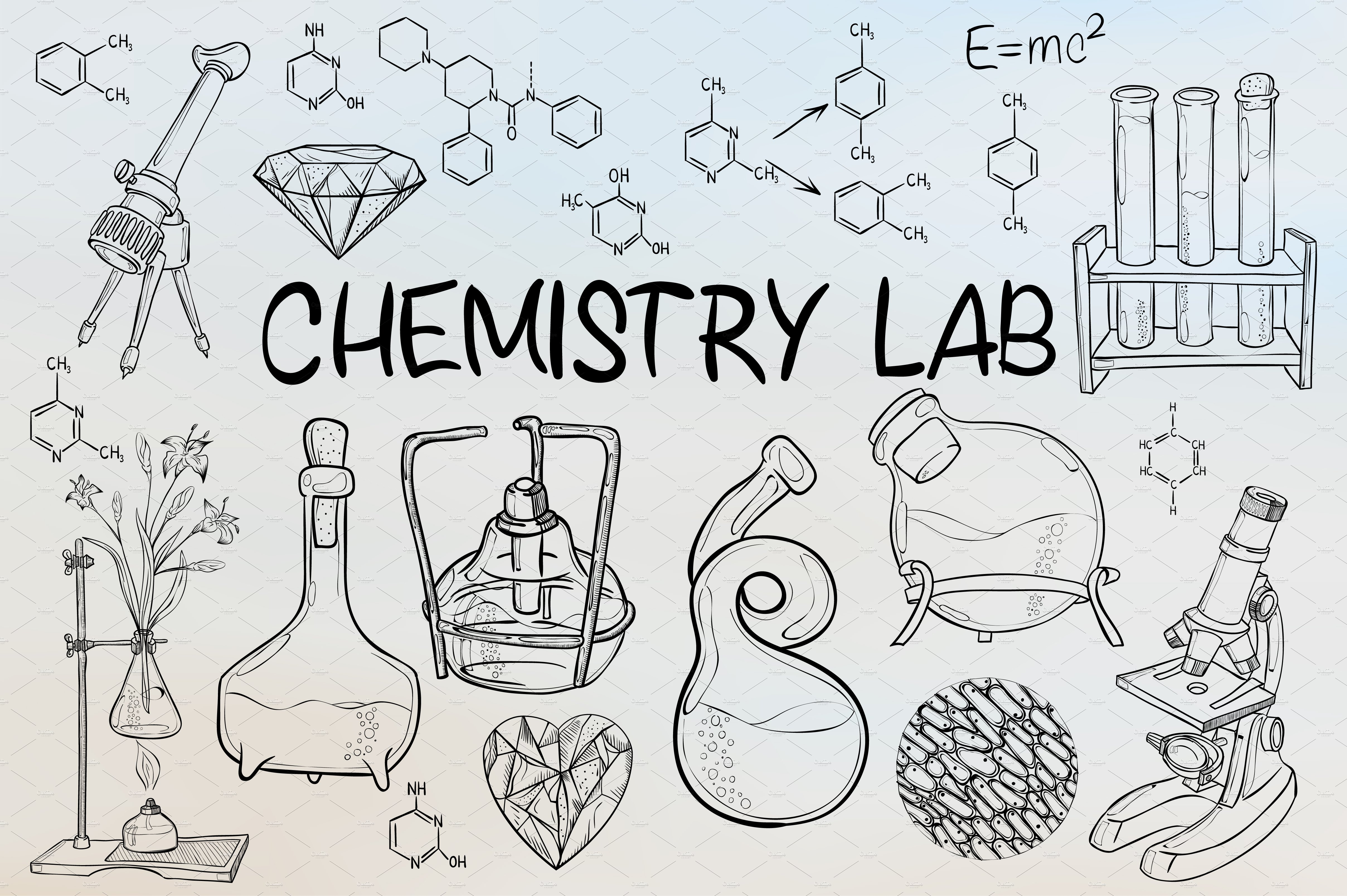 Retro chemical experiments. Vintage science laboratory ... |Lab Chemist Drawings