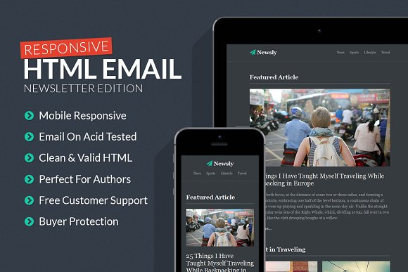Newsletter Responsive Email Template HTMLCSS Themes Creative Market - Email on acid templates