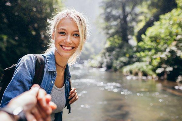 Woman enjoying a hike