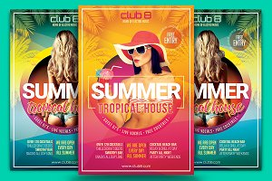 Summer Tropical House Flyer Template