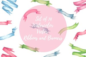 Set of 14 Watercolor Vector Ribbons