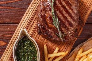 Beef barbecue ribeye steak