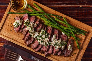Steak with blue cheese sauce