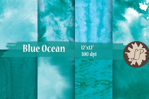 Blue Watercolour Sea Backgrounds