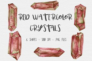 Red Watercolor Crystal Clipart