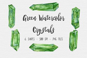 Green Watercolor Crystal Clipart