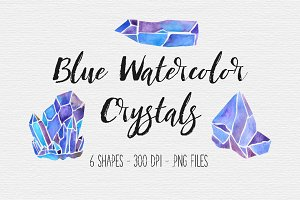 Blue Watercolor Crystal Clipart