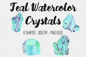 Teal Watercolor Crystal Clipart