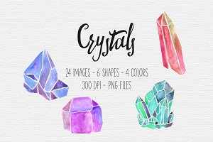 Watercolor Crystal Clipart