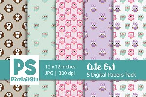 Cute Owls Clip Art digital paper