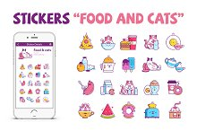 """20 Stickers """"Food and cats"""""""