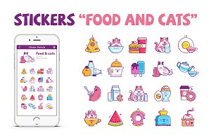 "20 Stickers ""Food and cats"""