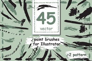 45 vector paint brushes.