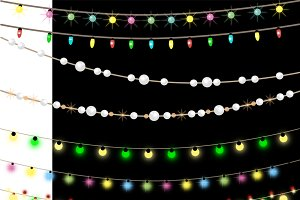 Garlands of lights and beads.