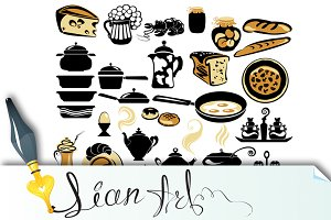 Set of different food - bread, pie,