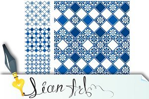 Set of seamless patterns - blue #1