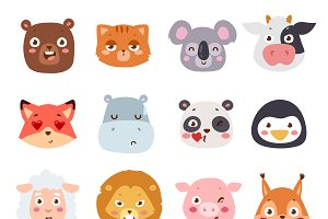Animal emotions vector set