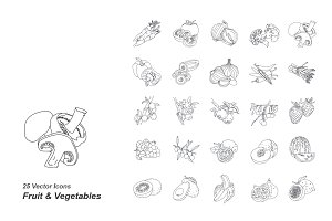 Fruit & Vegetables vector icons