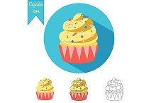 Cupcake icon. Vector+jpg