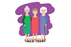 Group of aged ladies. Grandmothers