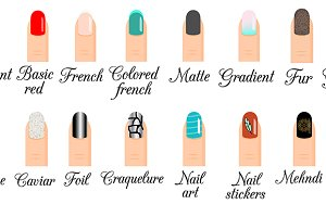 Manicure styles. Nail art, design
