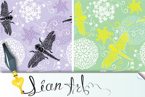 4 patterns with flower and dragonfly