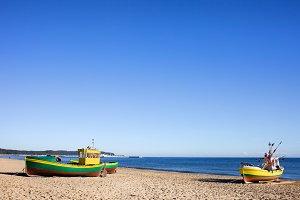 Fishing Boats on Beach at Baltic Sea