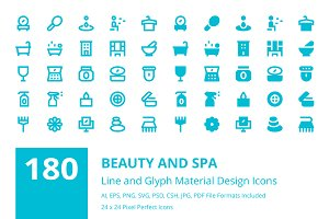 180 Beauty and Spa Material Icons