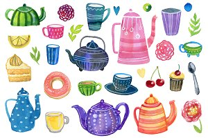 Watercolor tea party clip art