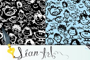 Seamless patterns. Cartoon faces