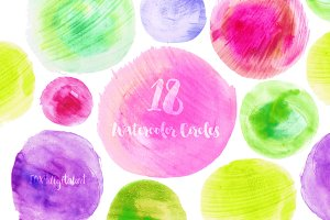 Pink and Green Watercolor Circles