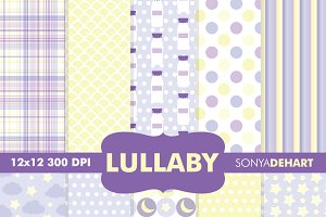 Baby Lullaby Purple Digital Papers