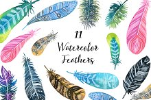 Watercolor Feathers clipart set