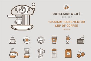 Set of Coffee Shop & Café Symbols