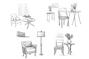 Hand drawn interior. Chair sketch