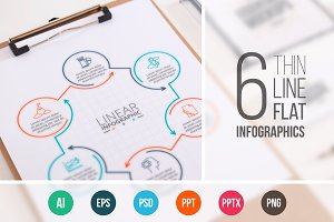 Linear elements for infographic v.10