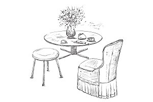 Hand drawn chair and table