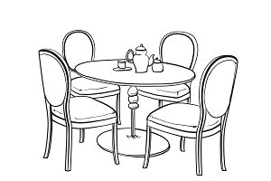 Dinner table. Furniture sketch