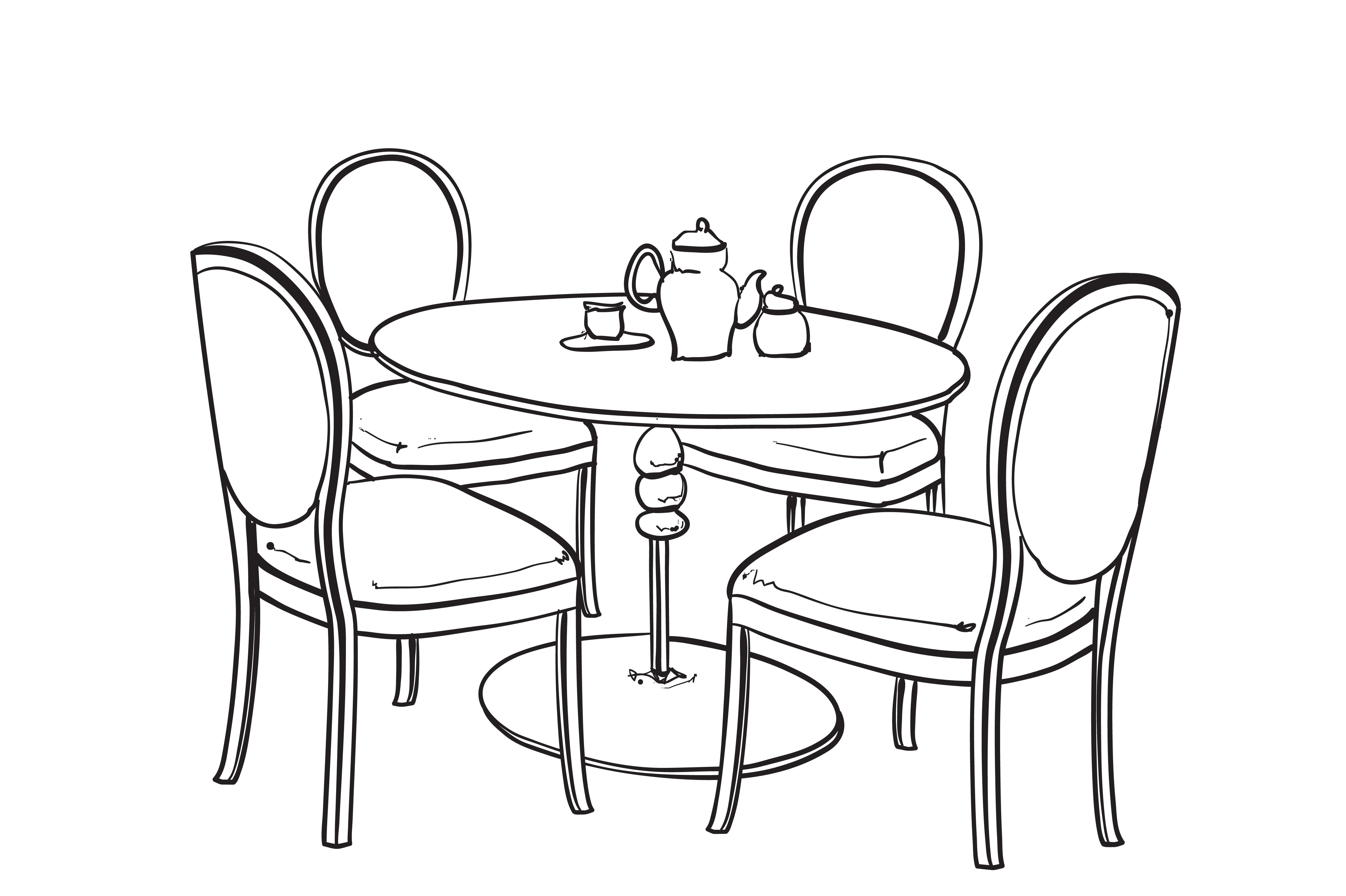 Line Art Table : Dinner table furniture sketch illustrations creative