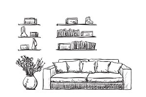 Hand drawn furniture. Sofa