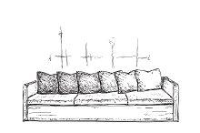 Hand drawn sofa. Furniture sketch