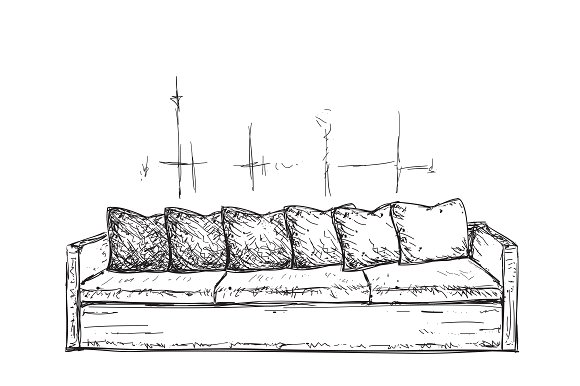 Hand drawn sofa. Furniture sketch - Illustrations