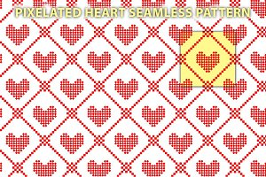 Pixelated heart seamless pattern