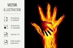 Burning helping hand