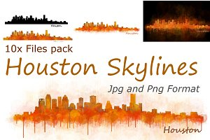 10x files Pack Houston Skylines