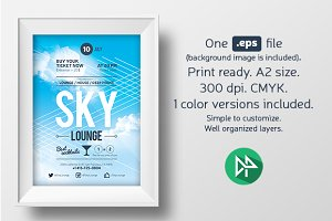 Sky lounge poster template