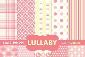Baby Lullaby Pink Digital Papers
