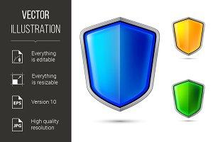 Three abstract shield
